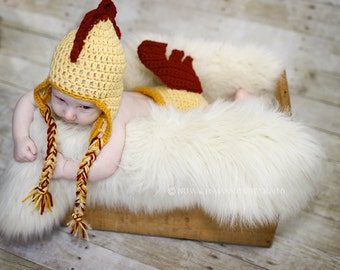 Rooster Earflap Hat and diaper cover set- Made to Order- Any size