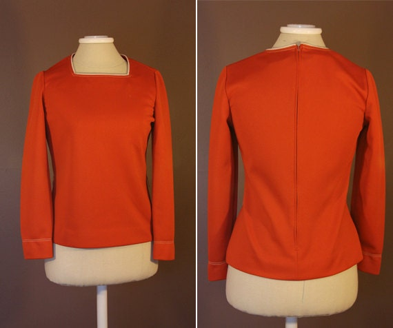 On Hold for Courtie456 - Rust Orange 1960s Leslie Fay Top
