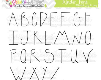 INSTANT DOWNLOAD, handwriting font, letter clipart, kids letters, for greeting cards, announcements, scrapbooking
