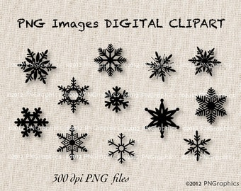 Red and Black Snowflakes 24 PNG Christmas Graphics  Digital Clip Art