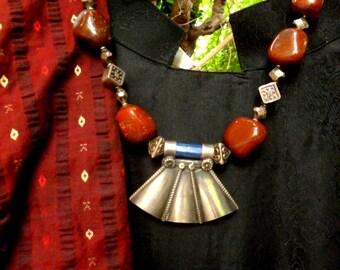 Ethnic Vintage Necklace. Brown Quartz, Lapislazuli and Sterling Silver.