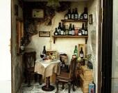 Vintage Country small Wine Shop -Ooak wine bar-handmade Dollhouse Miniatures