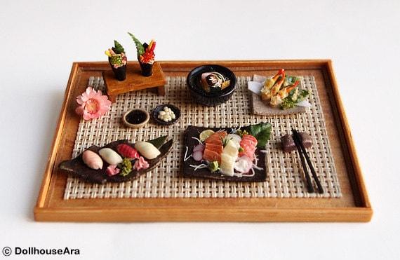 Sushi, Sashimi (No.7) Maki Japanese food sets-Handcraft Dollhouse Miniatures 1/12