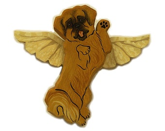Angel Dog Tibetan Spaniel Dog Angel Wooden Wall Hanging