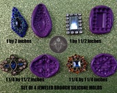 Set of 4 Bling Jeweled Brooch Silicone Molds