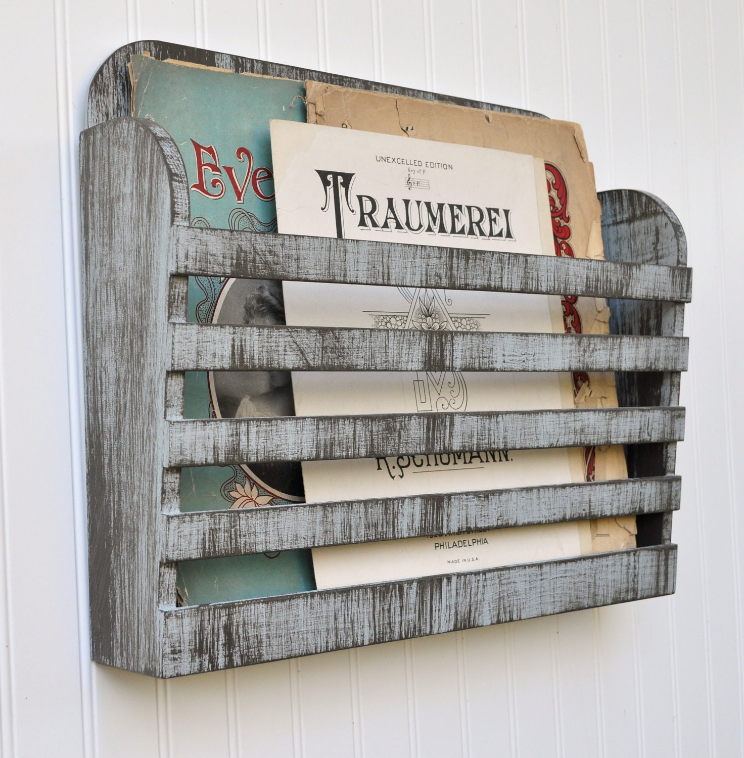 Distressed Hanging Magazine File Menu Holder Rustic Aged Gray