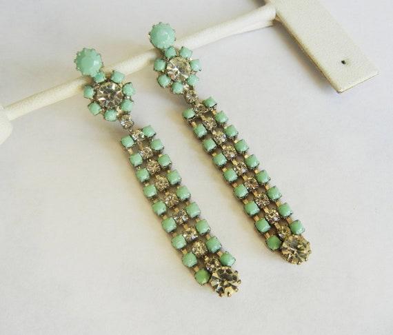 Vintage 1950s One Of A Kind Mint Green and  Rhinestone Dangle Earrings