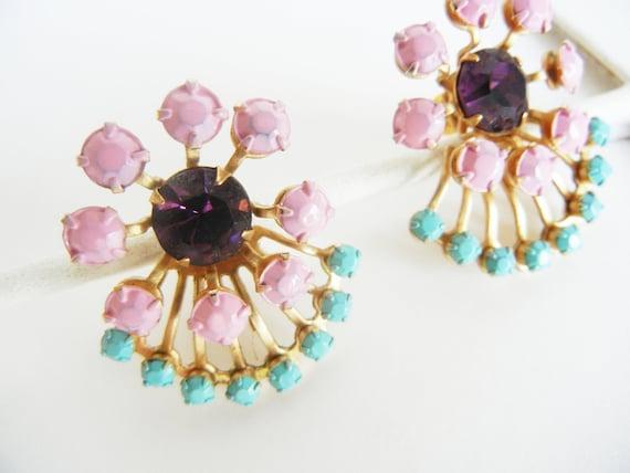 The Garden Earrings - Hand Painted Vintage Turquoise Pink and Purple Rhinestone Earrings - OOAK