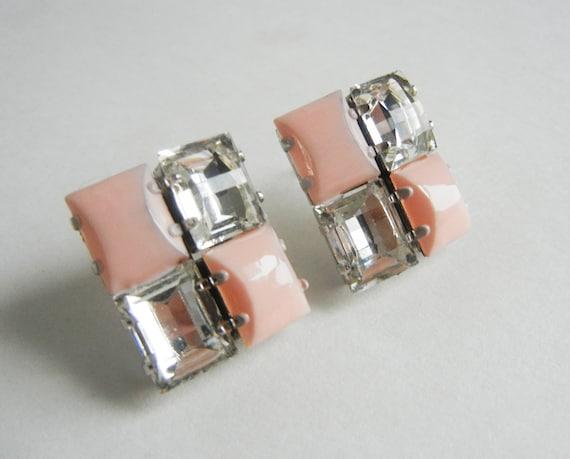 The Rachel Earrings - Hand Painted Vintage Pale Pink Rhinestone Earrings - OOAK