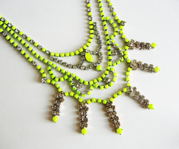 READY TO SHIP - Vintage 1950s One Of A Kind Hand Painted 3 Strand Bold Neon Yellow Rhinestone Necklace