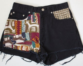 Studded Animal Native Print Distressed Black Denim Shorts
