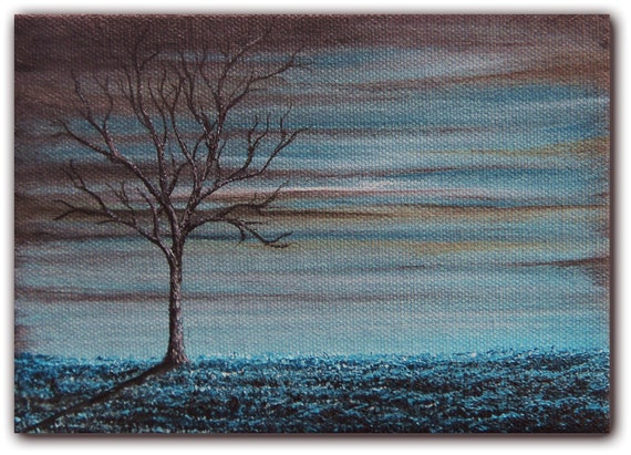 Original Surreal Oil Painting, Contemporary Nightscape Tree Art, Blue Moon Night Sky Landscape, 5 x 7 x 1.5, Blue Night