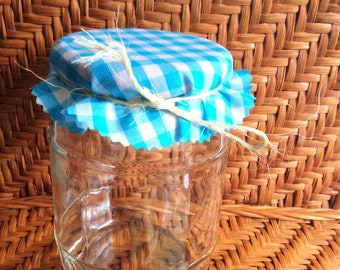 "6, 6"" Aqua and White Gingham Jelly Jar Covers with Natural  Hemp Twine for Wedding Favors"
