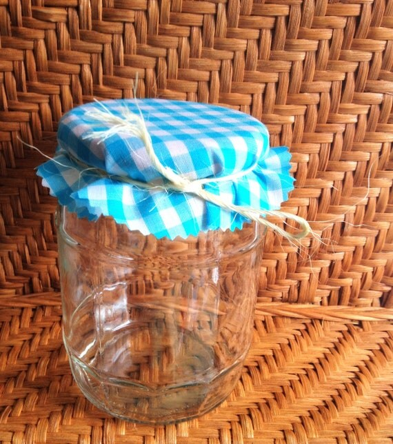 """6, 6"""" Aqua and White Gingham Jelly Jar Covers with Natural  Hemp Twine for Wedding Favors"""