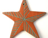 Nautical Star Ornament: Holiday Star Ornament, Polymer Clay, Terra Cotta and Teal, 1 for 6, 2 for 10, 5 for 20