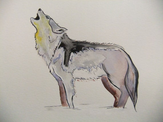 Original Watercolor Painting-Wolf