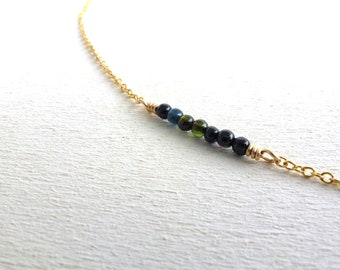 Bar Necklace Green Tourmaline Gold Filled Dainty Jewelry