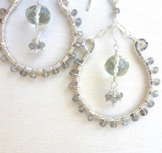 Bohemian Earrings Wire Wrapped Jewelry Sterling Silver Labradorite Green Amethyst