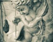 Cherub Angel Vintage Garden -Shabby Chic -Childrens Bedroom -Sepia Antique  Faith & Religion -Home Decor  -Wall Art - Fine Art Print