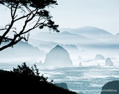 Oregon Coast Northwest Nature Silhouette - Canon Beach -Ocean Waves -Haystack Rock -Cyan Black White -Home Decor Fine Art Print Wall Art