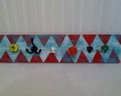 Wall Mounted Jewelry Organizer, Turquoise, Red, Chevron, Knobs, Pulls, Vintage