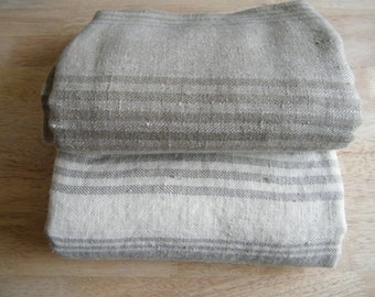 2 Natural Linen Bath Towels, Large Bath Sheets,  Huckaback, Gray Ecru Lighter Darker and Offwhite Stripes, for Spa, Sauna, Baby Care