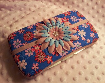 CLEARANCE! Reg 14.00! Ready to Ship Pink, Red, Blue, and Silver Flower Travel Wipes Case