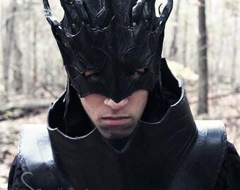 Dark Mage Mask, larp,masquerade,costume,armor,masque,cosplay,fantasy,sorcerer,leather,cuir,masquarade,halloween,gift,larping