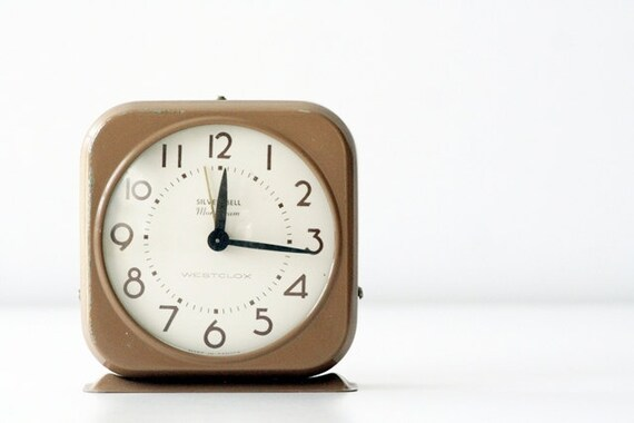 1940's Westclox Silver Bell Monogram Alarm Clock - Nonworking Beige Brown Time Piece, Neutral Home Decor, Unisex Gifts