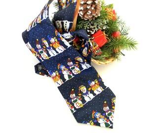 Christmas men tie. Snowman Necktie. George Machado. Christmas Party. Vintage Silk Necktie. Gift for him. Blue red white. Holidays. Winter
