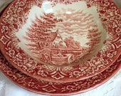Red Transfer ware 3 pieces - 1 soup bowl with 2 dinner plates, Homeland, Grindley, Staffordshire, England 9 & 10 inches round, Pink