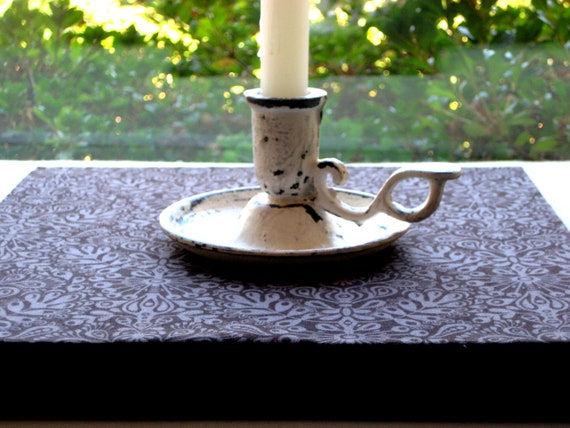 Vintage wrought iron Candlestick, candle holder, French rustic finish, Up scaled, Chippy paint, antique white, 2.5 x 4 inches tall