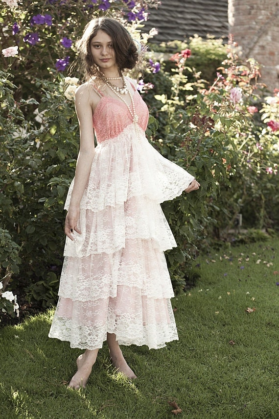 Reserved for georgia coral pink empire waist tiered lace formal princess dress by mermaid miss k