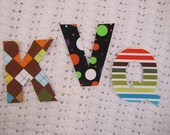 No Sew Fabric Letter or Number Iron On Applique for t-shirt or bodysuits You pick the fabric