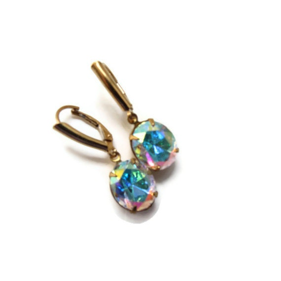 RESERVED LISTING for Trendsetting Team -  AB Rhinestone Brass Earrings with Gold Filled Lever Back Ear wires