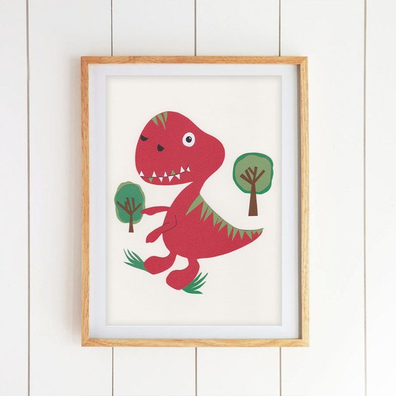 Items similar to boys room decor dinosaur wall art kids for 007 room decor