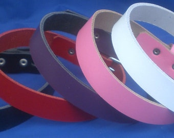 Leather Choker Necklace 20mm Plain  Choice of Colours Hand Made Real Leather Goth Punk