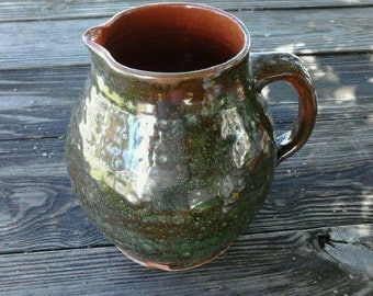 Vintage Old Sturbridge Village Redware Pottery Jug   ECS