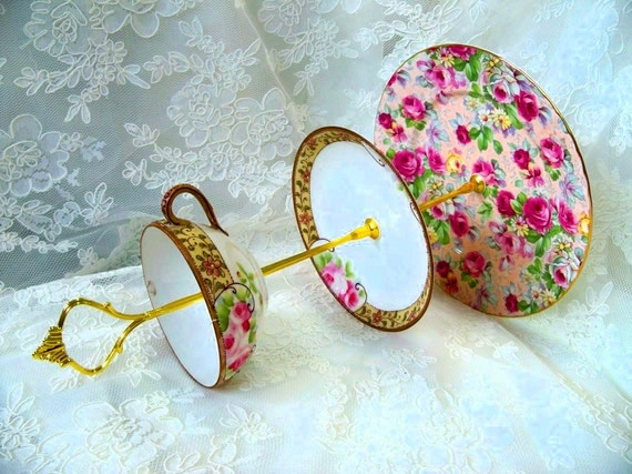 Vintage Rose English Bone China 3-Tier Tea/Cake Candy Stand or Jewelry Display (Slightly Flawed)
