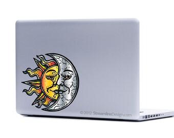 Sun and Moon Vinyl Laptop Decal   sun decal moon decal macbook decal laptop sticker iphone decal celestial decal sun and moon sticker