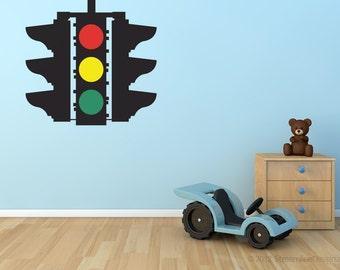 Stop Caution Go Traffic Light Removable Vinyl Wall Art, playroom wall art boys room wall sticker car theme room stop go light red light