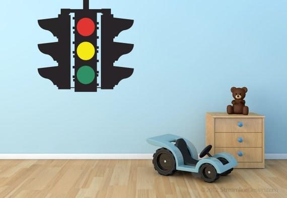 Wall Hanging Traffic Light : Stop Caution Go Traffic Light Removable Vinyl Wall Art