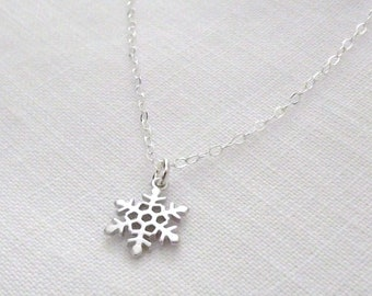 Tiny Silver Snowflake Sterling Silver Necklace