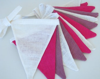 Bunting / Fabric Flag Banner / Pennant Nursery / Porch / Patio Decor / Photo Prop / Pink / Purple / White