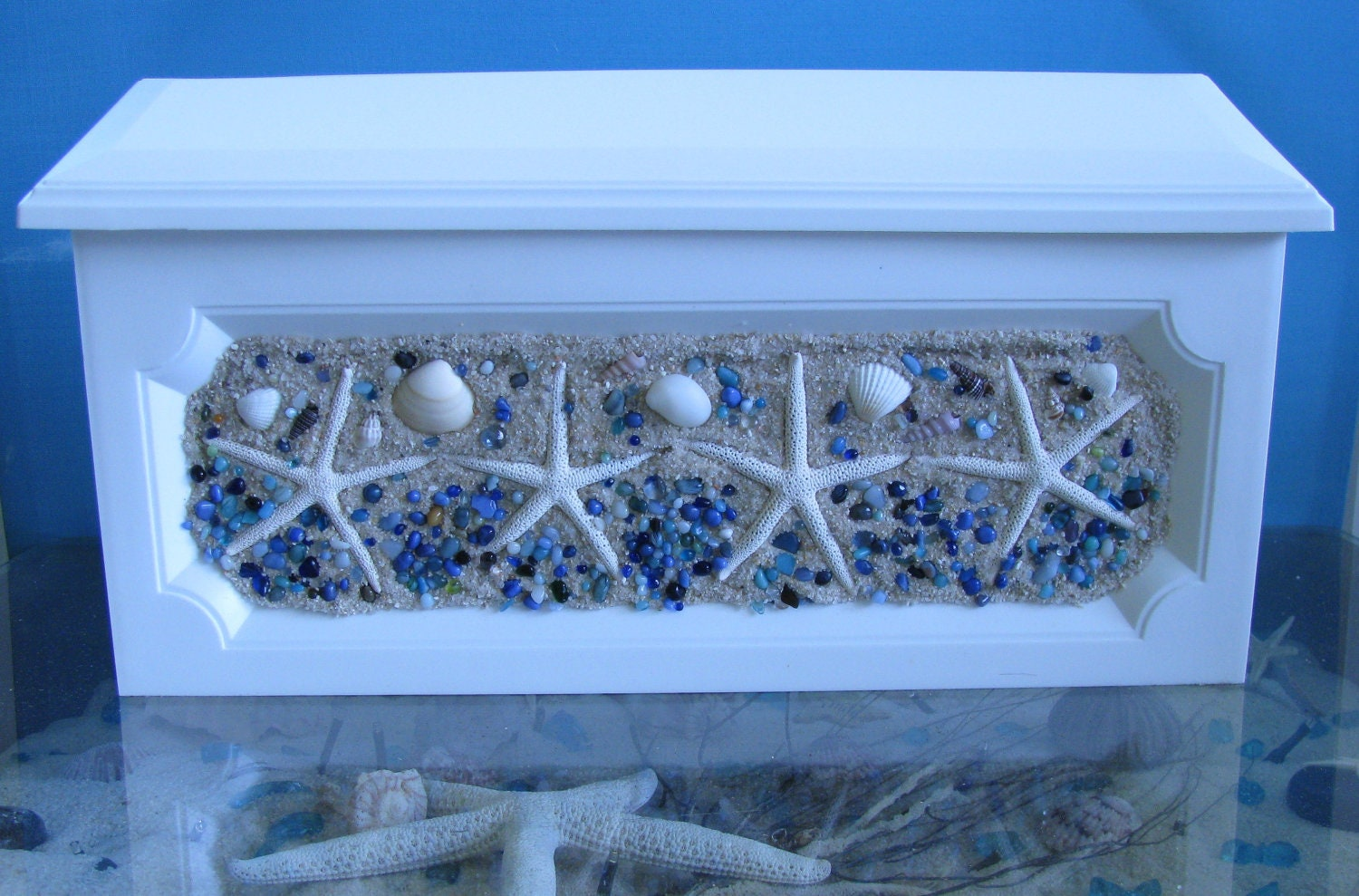 Handcrafted Starfish Mailbox Sand Blue Ocean Pebbles Wall
