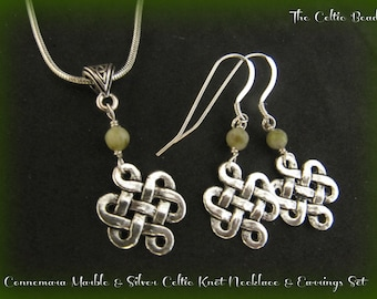 Connemara Marble and Silver Celtic Knot Necklace and Earring Set