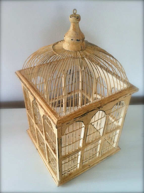 large antique bird cage wood and wire. Black Bedroom Furniture Sets. Home Design Ideas