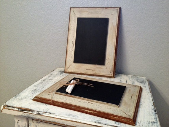 Vintage-inspired chalkboard with white and mint green rustic frame