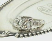 Antique Cushion Old Mine Cut Diamond Engagement Ring