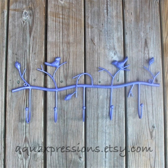 Metal Wall Hook /Purple Bird/ Shabby Chic Decor by AquaXpressions